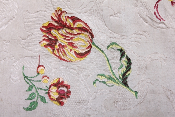 Detail of hand woven Spitalfields silk, 1743 - 1745, showing tulip motif