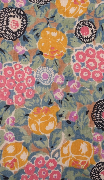 5 - Hand block printed silk by Warner & Sons from the late 1920s showing busy floral pattern